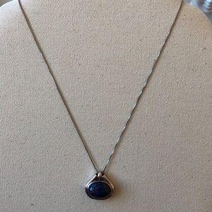 Vintage sterling  Lapis Lazuli pendant necklace